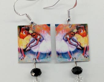 Ballerina Earrings, Ballerina by Degas, Sterling Silver Ear Wires, Ballet Lover Gifts, Embellished with Crystals, Free Shipping