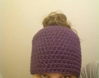 Crocheted Messy Bun / Ponytail  Hat