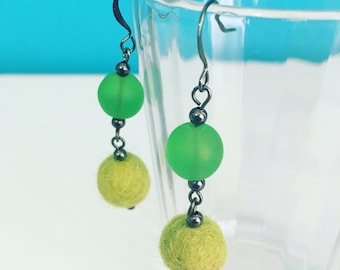 Newport Felt Earrings in Apple Green, Statement Earrings, Felt Balls, Recycled Glass, Mother's Day Gift, Dangle Earrings, Eco Friendly