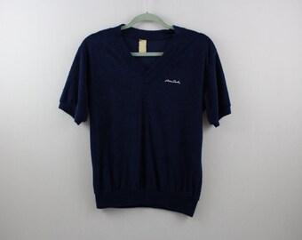 vintage PIERRE CARDIN navy blue terry cloth / polyester v neck shirt >> small - medium <<