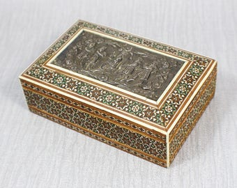 Small Rectangle Inlaid Wooden Box Metal Royal Scene Marquetry Top In Wood and Mother of Pearl