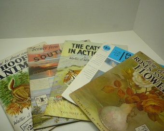 Lot of 5 Walter Foster Art books, 1960s-1970s, Vintage art books, book lot