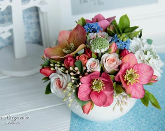 roses centerpiece, room flower decore, cold porcelain, helleborus, housewarming gift, scabiosa, hyacinth, birthday bouquet, birthday women