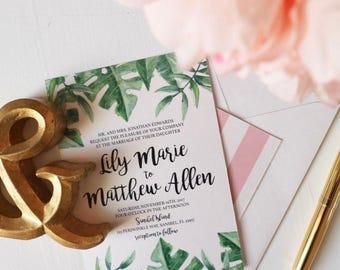Tropical Simple Wedding and RSVP invitation set