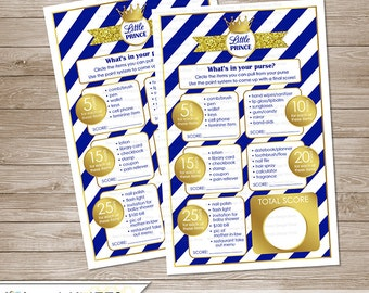 Little Prince Baby Shower Game What's In Your Purse?  -  Royal Blue - Instant Download