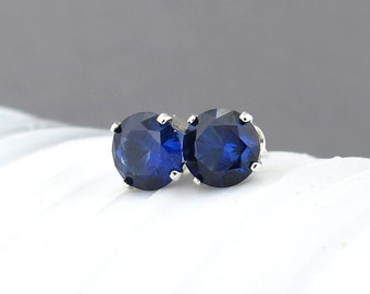 Tiny Stud Earrings Sapphire Stud Earrings Tiny Studs September Birthstone Jewelry Anniversary Gift Idea for Her Gift for Wife