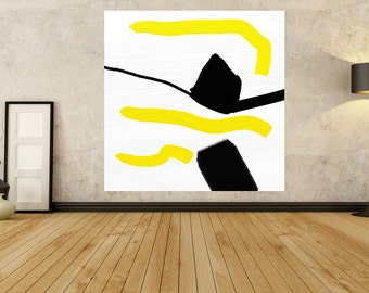 Large Painting - Black White Painting - Canvas Wall Art - Yellow Art - 20 30 36 40 50 60 Contemporary Painting Abstract Original Painting