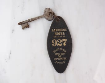RARE- Antique Hotel Skeleton Key & Tag- Lawrence Hotel, Erie, PA- John F Kennedy campaign speech location 1960- RARE- 1913 Key