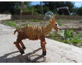 Miniature chamois seed beads and copper wire