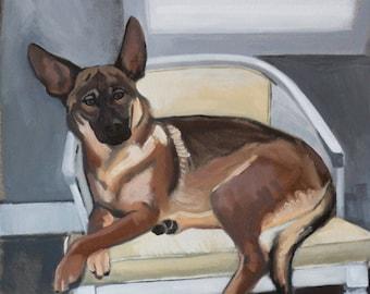 Custom Pet Portrait- German Shepherd Example