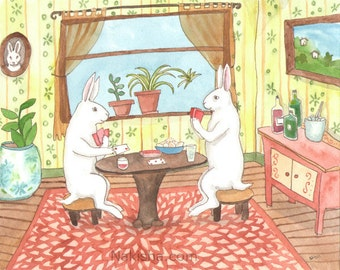 Playing Cards - Fine Art Print - Rabbits