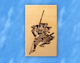 Japanese Samurai Warrior mounted rubber stamp, ronin, bushi, man, Sweet Grass Stamps No.12