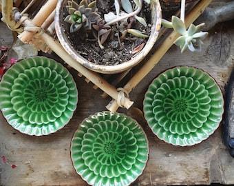 Three Vintage Visun China Saucers Green Crackle Glaze Small Plates, Green Kitchen Decor