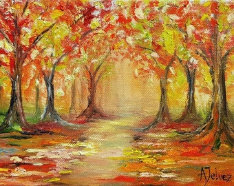 Small landscape painting Small painting Original oil painting Nature art Small canvas art Autumn tree painting Original landscape art 6x8""