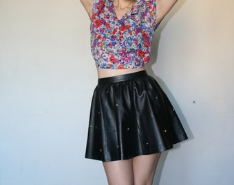 Crop top with flower print Crop bolero Cute top Flowers patterns Fashion trend top  70s (XS/S)