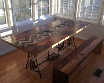 Reclaimed Wood Table with Antique Machine Base and Herring Bone Inlay Free Shipping Barn Wood