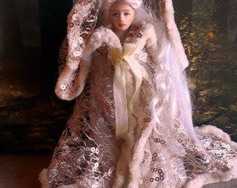 REDUCED Dollhouse miniature wearable 1/12th scale hooded cloak. Wedding/ Fantasy/Fairy Queen/Princess