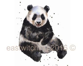 Watercolor PANDA print, baby boys room art, wildlife paintings, cute panda print, jungle nursery decor