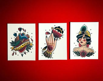 Temporary tattoos, The vintage tattoo trio, traditional tattoo, gift for her,  adult and kids temporary tattoos.