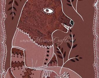 """MarmeeCraft art print- """"Wolfling"""""""
