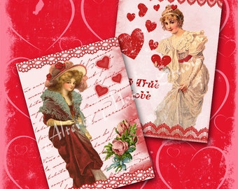 Love and Lace Valentine Collage Sheet 7