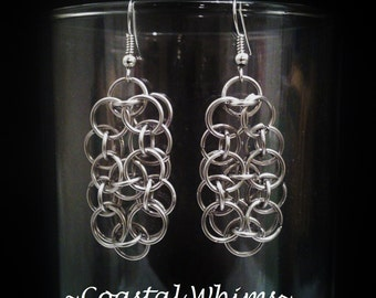 Chainmaille Hook Earrings, Helms Weave Chainmail Dangle Earrings, Stainless Steel Mail Jewelry, Hypoallergenic