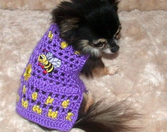 Dog sweater - Choose BEE - PUPPY - OTHER - Teacup Applique Line - Many colors - Tinies 2 to 6lbs