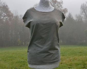 Khaki tshirt womens grunge style tops organic cotton naturally dyed herb green grey eco boho clothing minimalist fashion loose slouchy tee