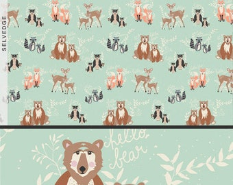 AGF Fabric Oh,hello Meadow from hello bear, raccoon , owl, deer by Bonnie Christine HBR-5430.Choose your cut.