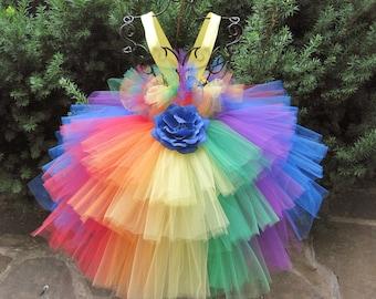 RAINBOW  RUFFLES, Tiered Tutu Dress, Rainbow Tutu Dress, Flower Girl Gown, Pageant Girl Dress, Cake Smash Tutu, First Birthday Dress