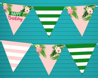 Tropical Aloha Bunting Banner Garland - Printable Party Garland