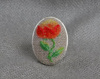 Embroidered ring with peony, best gift for her, oval floral ring with cross stitch