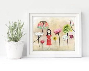 Mon Jardin Secret - Deluxe Edition Print - Whimsical Art