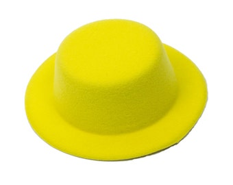 """5"""" Yellow Mini Top Hat Fascinator Base - Available in 14 Colors"""