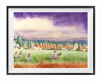Farm workers,Christmas Time Sale, Farm Landscape, Stormy landscape, Rural, Farmhouse painting, Farm wall art, Office, living room  15x19