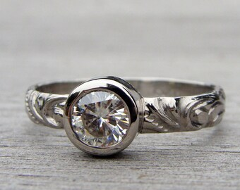 Sweet Moissanite and 950 Palladium Engagement or Wedding Ring, Forever One G-H-I, Conflict Free, Eco-Friendly - Made To Order