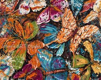Butterfly art, BIG Modern wall art, garden Butterflies, Nature art, metal prints,  Johno Prascak, Johnos Art Studio