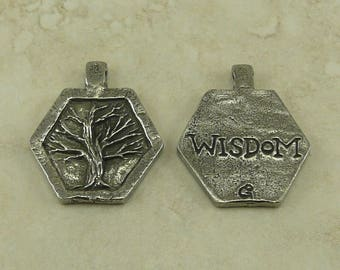 Wisdom Tree Green Girl Charm Pendant - Tree of Life Tranquility Bodhi Mother Nature - American Artist Made Lead Free Pewter Silver 431