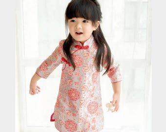 Red Cheongsam Dress for Kids Chinese New Year