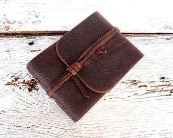 Leather Sketchbook. Leather Journal. Landscape Journal. Waxed Leather Journal