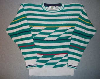 Green and White Stripe Striped Hipster Sweater Long Sleeve Tacky Gaudy Ugly Christmas Party X-Mas Geometric Abstract Winter S Small M Medium