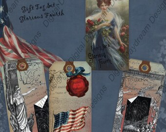 Instant Download Digital Collage Sheet Gift Tag Set - Glorious Fourth