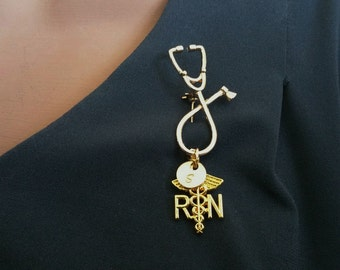 RN Registered Nurse Medical Stethoscope Gold Handstamped Personalized Initial Letter Graduation Gift Brooch Pin