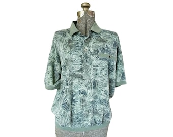 Vintage 1980s Safe Harbor Army Green Tropical Print Collared Short-Sleeve Shirt (L)