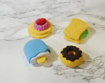 Set of 4 erasers - Ice Cream Eraser Biscuit Cake Lollipops Erasers - Petit Bout de France