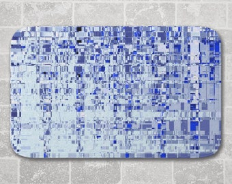 Bath Mat Abstract Architecture, Blue Grey, Modern Bathroom Decor, Memory Foam Microfiber Floor Mat, Kitchen Floor Decor, Interior Design