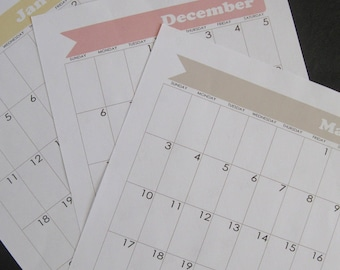 Bullet Journal Printable Calendar - January 2018 through December 2018 - for Moleskine XL