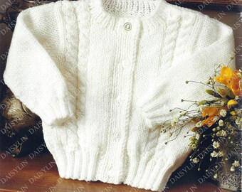 PDF Instant Digital Download easy knit baby   girl cardigan knitting pattern double knit ages 16/26 inch (390)