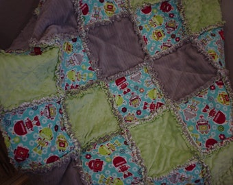 Custom ~ Robots ~ Green ~ Grey~ Toddler Boy Rag Quilt