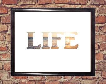 Life word print, Word art, Digital download, Home decor